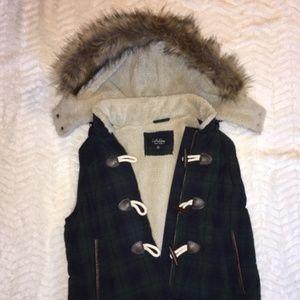 Modcloth Faux Fur Plaid Quilted, Lined Vest
